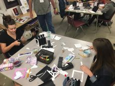 Tech Theater students work on creating theater dioramas based on a book or movie of their choice.
